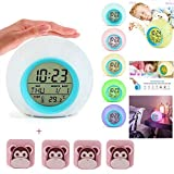 Kids Alarm Clock,Wake Up Light LED Digital Clock for Bedrooms with Touch Control 7 Colors Light, 6 Natural Sounds,with Indoor Temperature Calendar(Blue) Extra 4 PCS Quilt Clips Fasteners