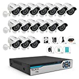 TECBOX 720P Security Camera System 16CH Surveillance DVR with 16 1.3mp Weatherproof CCTV Cameras Day&Night Remote View Surveillance Video System 2TB Hard Drive Preinstalled