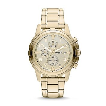 Fossil Men's Dean Quartz Stainless Steel Chronograph Watch, Color: Gold (Model: FS4867)