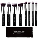 Essencell Labeled Makeup Brushes Professional Kabuki Makeup Brush Set - Foundation,Powder, Blending Blush Bronzer, Concealer Contour, Eye Shadow Brush Kit (8PCs, Black Sliver)