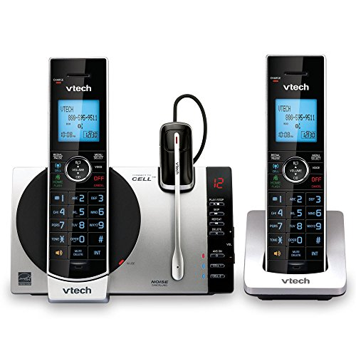 VTech DS6771-3 DECT 6.0 Expandable Cordless Phone with Connect to Cell, Siri and Google Now Access, Silver/Black, 2 Handsets and 1 Cordless Headset