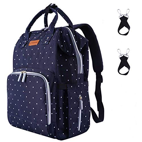 Diaper Bag Backpack,Durable Waterproof Large Capacity Multifunction Diaper Bag for Mom for Travel,Stylish Handsfree Nappy Bag with Stroller Straps,Insulated Pocket,Navy Blue