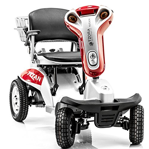 Hummer XL Folding 4-Wheel Electric Scooter Tzora Titan RED + Challenger Mobility Accessories