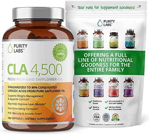 Purity Labs CLA 4,500MG Safflower Oil Number One Weight Loss Fat Burner Supplement 180 Softgels Non-GMO & Gluten Free Conjugated Linoleic Acid Pills Belly Fat Burner 3