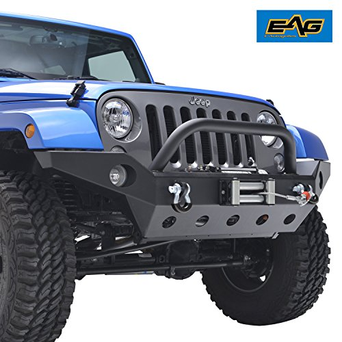 EAG 2007-2018 Jeep Wrangler JK Full Width Front Bumper With Fog Lights Hole & Winch Plate