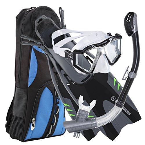 U.S. Divers Lux Mask Fins Snorkel Set Compatible with GoPro, Black, Small/Medium