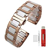 Watch Band Rose Gold Mens Watches Metal Band White Ceramic Watch Strap for Ladies 20mm Polished Wrist Watch Bracelet Stainless Steel Smooth Deployment Clasp