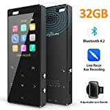 MusRun MP3 Player, 32GB MP3 Player with Bluetooth 4.2 (Support TWS Earbuds) and Internal Speaker, with HiFi AUX Recording, Armband Pedometer FM Radio and Recording, Metal Shell. Nice Packing
