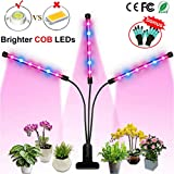 Grow Light, Auto ON Off Every Day with Two-Way Timer 36W Triple Head Grow Lamp for Indoor Plants, High Power LED, 8 Dimmable Levels, 4/8/12H Memory Timing for Hydroponics Greenhouse with 1x Gloves