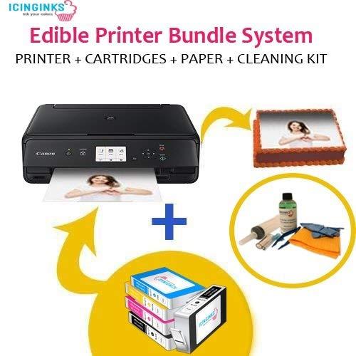 Icinginks Latest Edible Printer Bundle, Includes 50 Edible Sheets, Refillable Edible Cartridges, Edible Cleaning Kit, Cake Printer, Edible Ink Printer, Edible Image Printer, Canon Edible Printer