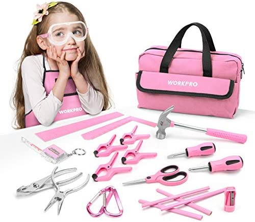WORKPRO 23-piece Girls Tool Kit with Real Hand Tools, Safety Goggles, Storage Bag Home DIY & Woodworking – Pink, Age 6+