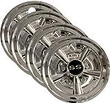 4x 8' Chrome Golf Cart Wheel Covers for EZGO, Club Car, + Yamaha Carts
