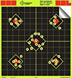 12'x12' Sight in Adhesive SPLATTERBURST Shooting Targets - Instantly See Your Shots Burst Bright Fluorescent Yellow Upon Impact! (50 Pack)