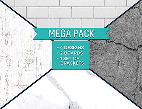 SnapIt-Boards-MEGA-Pack-two-2-Sided-Boards-Bracket-Photo-Backdrop-Boards-for-Flat-Lay-Food-Photography-Durable-Waterproof-Realistic-Photo-Backgrounds-for-Product-Photography-26x20-Whites-Gray