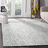Safavieh Abstract Collection ABT468B Contemporary Handmade Blue and Charcoal Premium Wool Area Rug (6' x 9')
