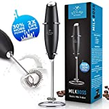 NEW 2019 FASTER, STRONGER & LONGER LASTING Milk Boss High Powered Milk Frother Handheld Foam Maker for Lattes - Whisk Drink Mixer for Bulletproof Coffee Frother, Mini Blender and Milk Foamer Frother for Cappuccino, Frappe, Matcha, Hot Chocolate by - Zulay