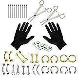 BodyJ4You 36PC PRO Piercing Kit Goldtone Silvertone 14G 16G Belly Ring Tongue Tragus Nipple Nose