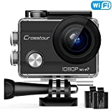 Crosstour CT7000 Action Camera 1080P 12MP WiFi Underwater Sports Cam 170 Degree Ultra Wide-Angle with 2 PCS Rechargeable Batteries and Mounting Accessories Kit