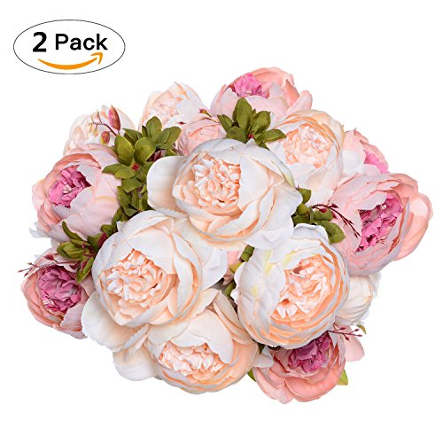 2 pack artificial peony wedding flower bush bouquet greendec vintage 2 pack artificial peony wedding flower mightylinksfo Image collections