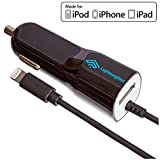 Apple Certified Lightning Car Charger - 2.1 Amp for iPhone X 8 Plus 8 7 Plus 7 6S Plus 6 S 5S 5C 5 SE - Cable USB Socket Rapid Charges 2 Devices - Keeps You Connected On The Road
