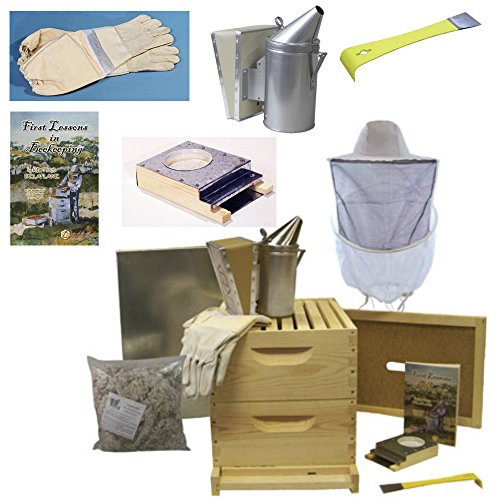 Deluxe Beehive Starter Kit - Premium Bee Hives for Beginners and Pros and All the Beekeeping Supplies You Need, 8 Frames