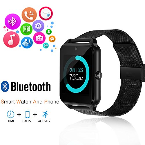 Smart Watch, GEEKERA Bluetooth Watch Wristwatch Phone with SIM Card Slot / Touch Screen / Camera for iPhone 6s/6 Plus/5s/5c/4 and Android Samsung Galaxy 6/5/4 Note 4/3/2 Sony HTC LG Huawei (Black)
