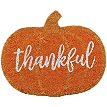 Mud Pie 4124005 Thankful Pumpkin Fall Front Doormat, Orange