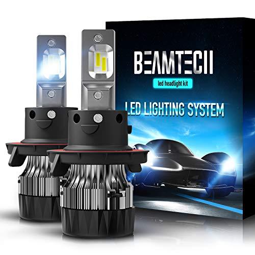 BEAMTECH H13 LED Headlight Bulbs,6500K 10000 Lumens Extremely Super Bright 9008 Hi/Lo 30mm Heatsink Base CSP Chips Conversion Kit,Xenon White
