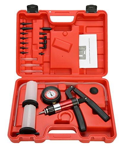 8milelake 21pcs HandHeld Vacuum Pump Set Tester for Automotive with Adapters Brake Bleeder Test Kit