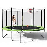 Merax Trampoline 14FT with Enclosure Net, Circular Trampolines Outdoor Parkside for Adults/Kids, Family Jumping with Basketball Hoop and Ladder