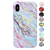 Velvet Caviar - iPhone X/iPhone Xs Marble Case for Women & Girls - Cute Protective Phone Cases [Drop Test Certified] Compatible with iPhone X/Xs (Holographic Pink Blue)