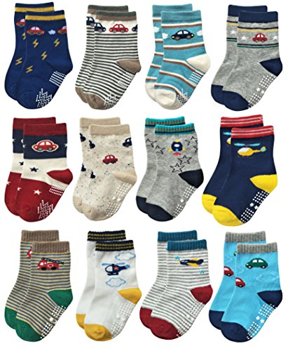 Deluxe Anti Skid Non Slip Slipper Cotton Crew Dress Socks With Grips For Baby Walker Toddlers Kids Boys 2T 3T (18-36 Months, 12 designs/RB-71112)