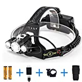 CrazyFire LED headlamp, 18650 Rechargeable Headlight Flashlight, Head Hat Light, 4 Modes Waterproof Headlamps for Camping, Running, Hiking, Hunting, Fishing, Batteries and Charger Included