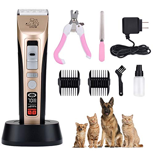 Pet Grooming Clippers-5 Speed Pet Hair Clippers Low Noise Dog Grooming Kit Heavy...