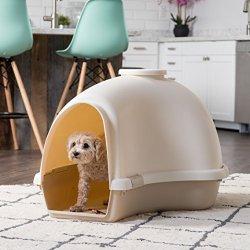 IRIS USA Large Igloo Shaped Dog House, White/Almond IDH-L