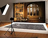 Laeacco 7x5FT Vinyl Backdrop Photography Background European Retro Library Bookshelf Study Mural Room Interior Scene Background Books Candle Window Moonnight Halloween Backdrop Photo Studio Props