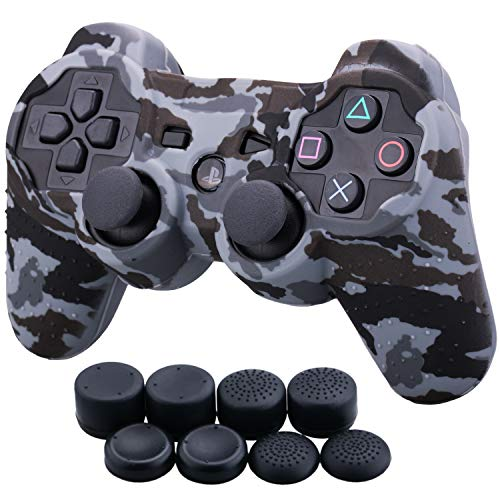 9CDeer 1 Piece of Silicone Water Transfer Protective Sleeve Case Cover Skin + 8 Thumb Grips Analog Caps for PS3 Controller, Grey Camouflage