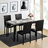 Harper & Bright Designs 5Pcs Dining Set Kitchen Table Set Dining Table and 4 Leather Chairs
