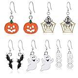 Miraculous Garden Halloween Theme 5 Pairs Drop Dangle Earrings Sets Including Halloween Spider Web Pumpkin Ghost Bat Boo Halloween Earrings for Women Girls