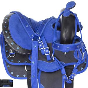 """Acerugs 10"""" 12"""" 13"""" Kids SEAT Western Synthetic Show Barrel Trail Pony Horse Saddle Sets Free Headstall REINS Breast…"""