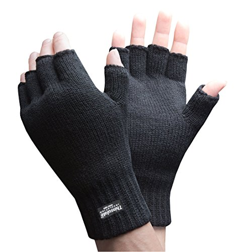 Mens 3M Thinsulate 40 gram Thermal Insulated Black Knit Winter Fingerless Gloves (Large / X-Large)
