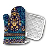 KEIOO Paisley Wallpaper Oven Mitts and Potholders Heat Resistant Set of 2 Kitchen Set Non-Slip Grip Oven Gloves BBQ Cooking Baking Grilling