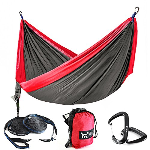 Winner Outfitters Double Camping Hammock With Tree Straps - Lightweight Nylon Portable Hammock, Best Parachute Double Hammock For Backpacking, Camping, Travel, Beach, Yard Charcoal/Red, 78'W x 118'L