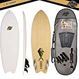Gold Coast Surfboards - 5'8 Hybrid Soft Top Surfboard -The Mahi -No Wax Needed Soft Foam Surfboard Deck, Rubber Logo, GoPro Mount + BAMBOO Bottom Deck - Fish Shape Surfboard with FCSII Fin Boxes PKG