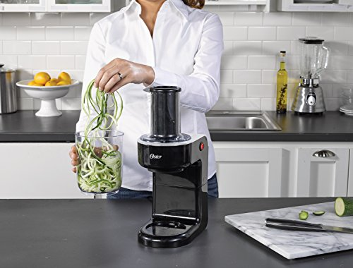Oster Easy-to-Use Electric Spiralizer with 2 Spiralizer Blades (sized for spaghetti and fettuccine noodles), Black