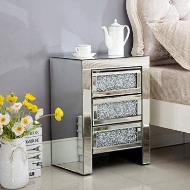 Mecor Mirrored End Table 3 Drawers Mirror Accent Side Table