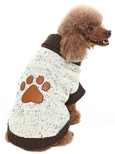 BINGPET Turtleneck Dog Sweater Brown Paw Pattern by 1