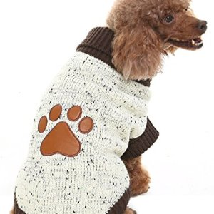 BINGPET Turtleneck Dog Sweater Brown Paw Pattern by