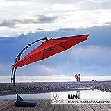 Grand patio Deluxe 12 FT Curvy Aluminum Offset Umbrella, Patio Cantilever Umbrella with Base, Red