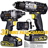 Impact Driver and Hammer Drill, 20V Cordless Combo Kits, 2X2.0Ah Li-Ion Batteries, 30-Min Quick Charger, 32pcs Accessories, Variable Speed, Tool Bag Included TECCPO